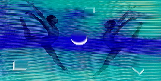 Abstract of twins dancing