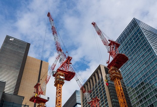 Cranes beside tall buildings