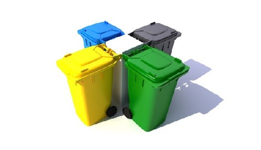 Four coloured bins