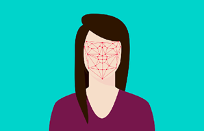 Drawing of digital grid on woman's face
