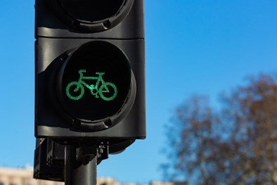 Bike sign on traffic light