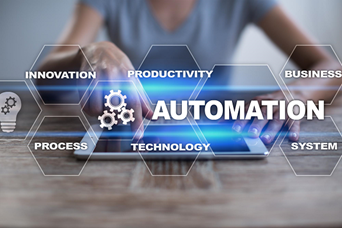 Automation logo in front of woman using tablet