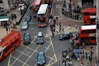 Aerial view of London traffic
